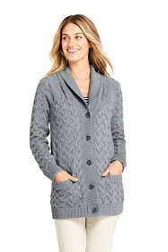 Women's Cotton Cable Drifter Shawl Cardigan Sweater