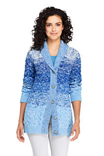 Women's Cotton Cable Drifter Shawl Cardigan Sweater, Front