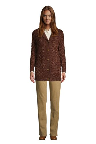 Women's Tall Cotton Cable Drifter Shawl Cardigan Sweater