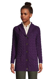 Women's Petite Cotton Cable Drifter Shawl Cardigan Sweater