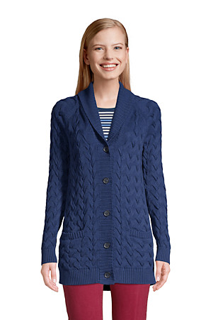 Women's Drifter Cotton Shawl Collar Cardigan | Lands' End