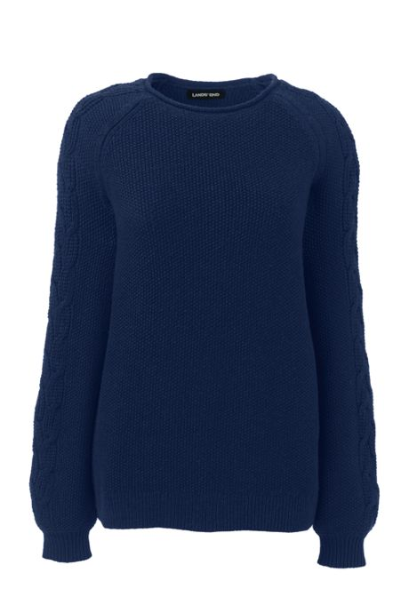 Women's Cotton Blend Bishop Sleeve Sweater Texture
