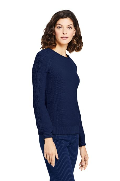 Women's Petite Cotton Blend Sweater Texture