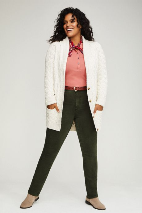 Women's Plus Size Cotton Cable Drifter Shawl Cardigan Sweater