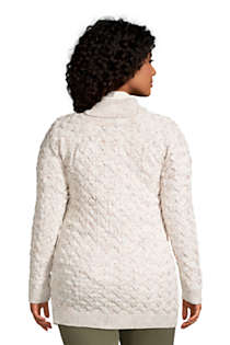 Women's Plus Size Cotton Cable Drifter Shawl Cardigan Sweater, Back