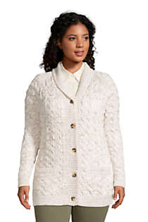 Women's Plus Size Cotton Cable Drifter Shawl Cardigan Sweater, Front