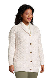 Women's Plus Size Cotton Cable Drifter Shawl Cardigan Sweater, alternative image