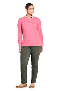 Women's Plus Size Cotton Cable Drifter Crewneck Sweater, alternative image