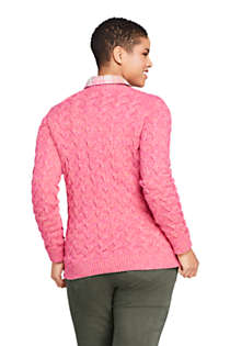 Women's Plus Size Cotton Cable Drifter Crewneck Sweater, Back