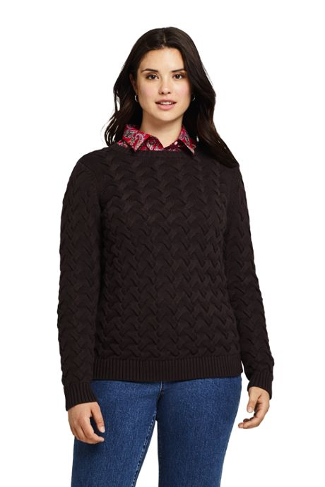 Women's Plus Size Cotton Cable Drifter Crewneck Sweater