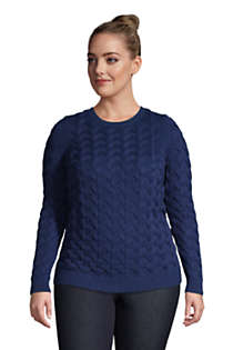 Women's Plus Size Cotton Cable Drifter Crewneck Sweater, Front