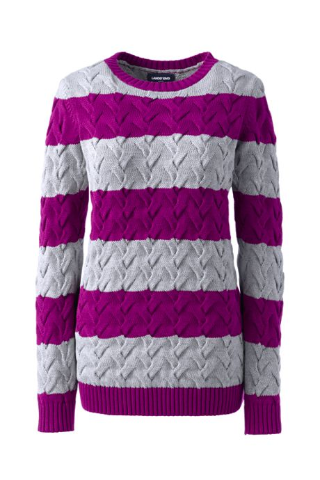 Women's Plus Size Cotton Cable Drifter Crewneck Sweater - Stripe