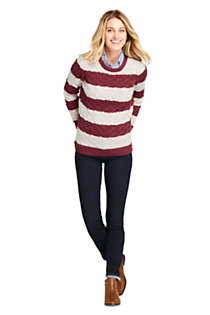 Women's Petite Cotton Cable Drifter Crewneck Sweater - Stripe , alternative image