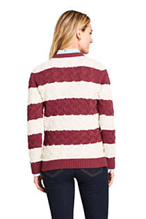 Women's Petite Cotton Cable Drifter Crewneck Sweater - Stripe , Back
