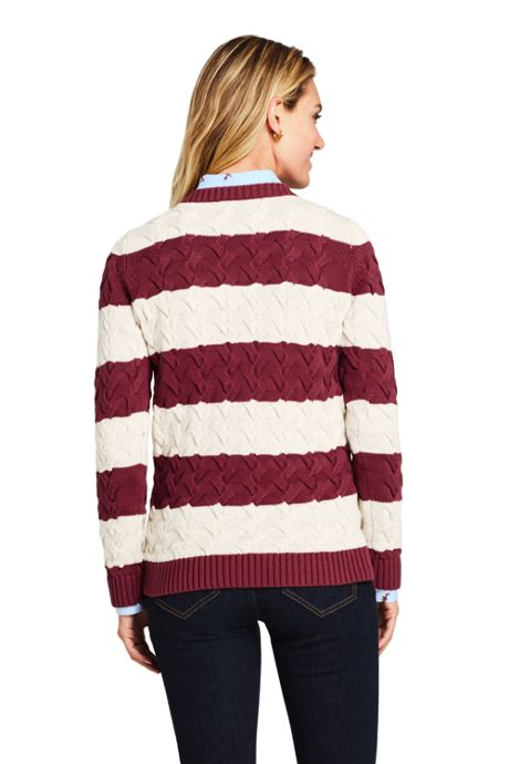 Women's Tall Cotton Cable Drifter Crewneck Sweater - Stripe