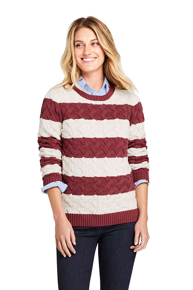 Women's Petite Cotton Cable Drifter Crewneck Sweater - Stripe , Front