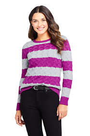 Women's Petite Cotton Cable Drifter Crewneck Sweater - Stripe