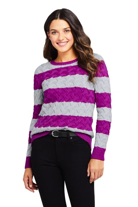 Women's Cotton Cable Drifter Crewneck Sweater - Stripe