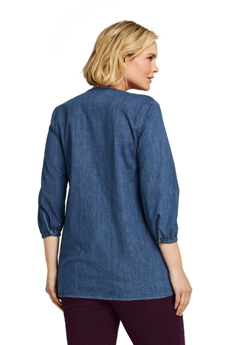 Women's Plus Size 3/4 Sleeve Denim Tunic