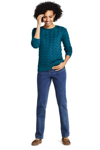 Women's Cotton Cable Drifter Crewneck Sweater