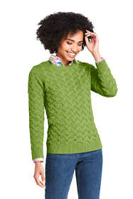Women's Petite Cotton Cable Drifter Crewneck Sweater