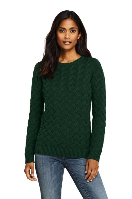 Women's Tall Cotton Cable Drifter Crewneck Sweater