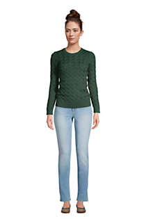 Women's Cotton Cable Drifter Crewneck Sweater, alternative image