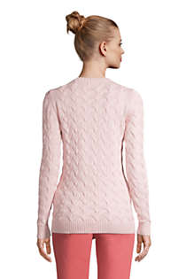 Women's Cotton Cable Drifter Crewneck Sweater, Back
