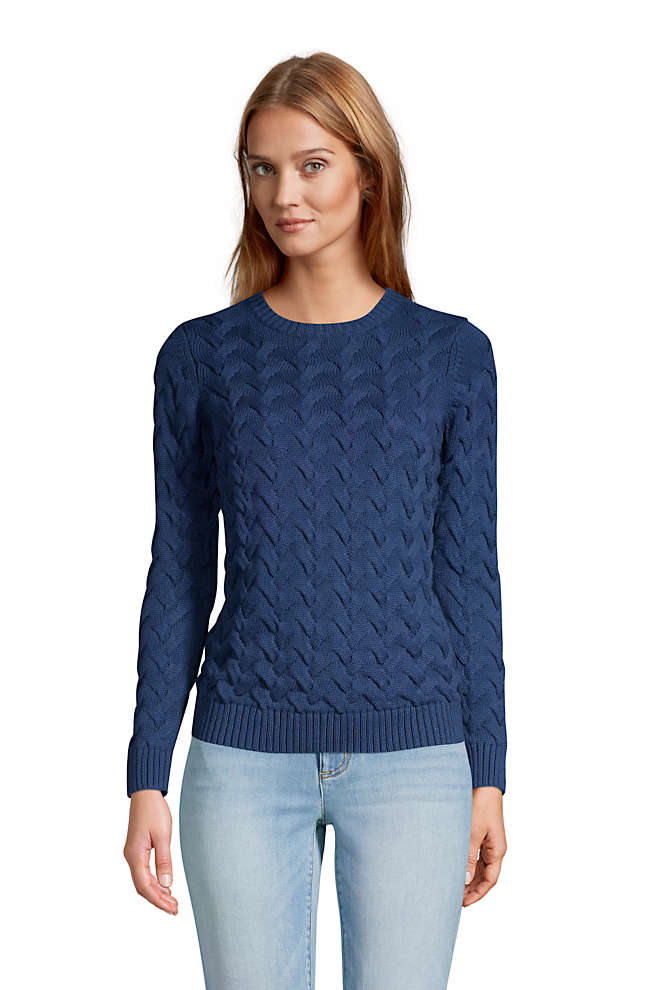 Women's Cotton Cable Drifter Crewneck Sweater, Front