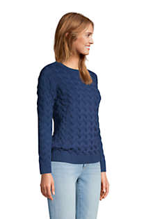Women's Cotton Cable Drifter Crewneck Sweater, Unknown