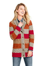Women's Cotton Cable Drifter Shawl Cardigan Sweater - Stripe