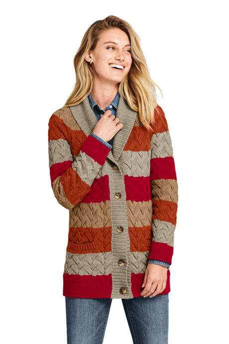 Women's Petite Cotton Cable Drifter Shawl Cardigan Sweater - Stripe