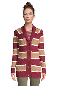 Women's Tall Cotton Cable Drifter Shawl Cardigan Sweater - Stripe