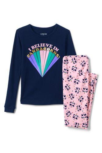 Girls' Graphic Snug Fit Cotton Pyjama Set
