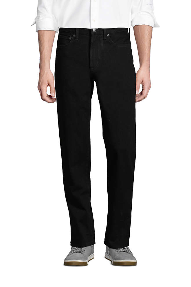 Men's Relaxed Fit Black Jeans, Front