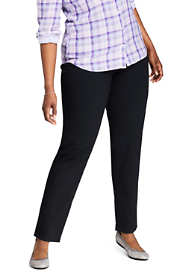 Women's Plus Size Slimming Compression Mid Rise Straight Leg Jeans - Black