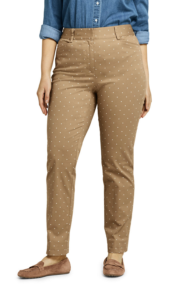 Women's Plus Size Mid Rise Print Straight Leg Chino Pants