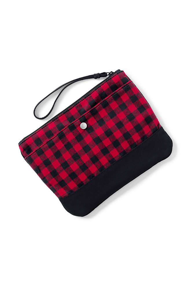 Medium Flannel Zipper Pouch, Front