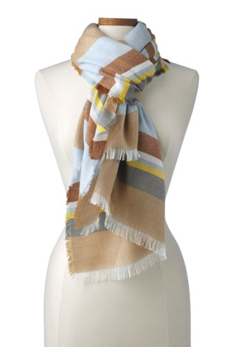 Foulard Multi-Rayures à Micro-Franges, Femme