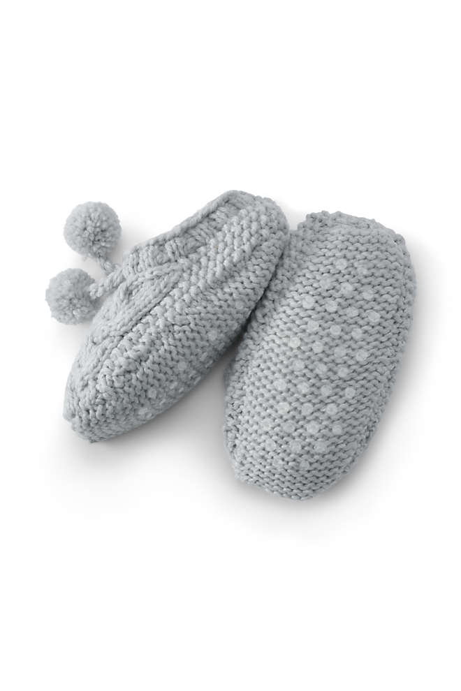 Women's Sherpa Lined Hand Knit Cable House Slipper Socks, Front