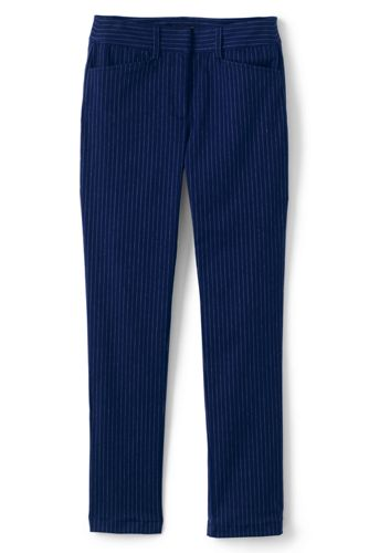 Women's Mid Rise Straight Leg Pinstripe Chino Trousers