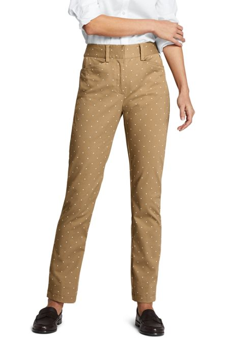Women's Mid Rise Print Straight Leg Chino Pants
