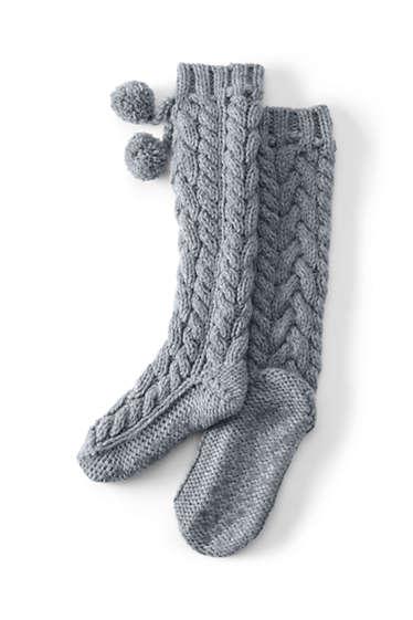 00079ef79ac6c Women's Hand Knit Cable Slipper Socks