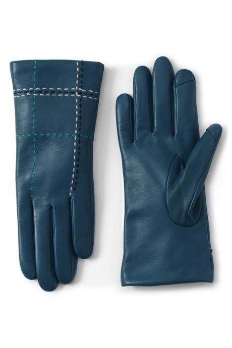 Women's Cashmere Lined Leather Stitched Gloves