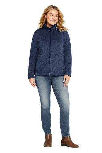 Women's Plus Size Sweater Fleece Jacket