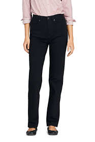 Women's Petite High Rise Straight Leg Jeans - Black