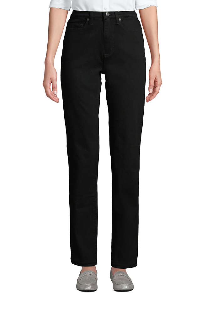 Women's Petite High Rise Straight Leg Stretch Jeans - Black, Front