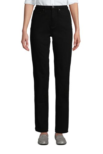 Schwarze Straight Fit Jeans High Waist für Damen