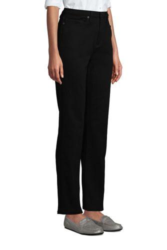 Women's Petite High Rise Straight Leg Stretch Jeans - Black