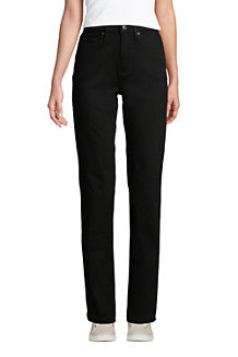 Women's High Waisted Straight Leg Black Jeans